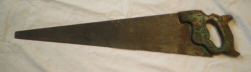 Antique H.Disston Carved Wheat Green Wood Handle Steel Hand Saw 26""