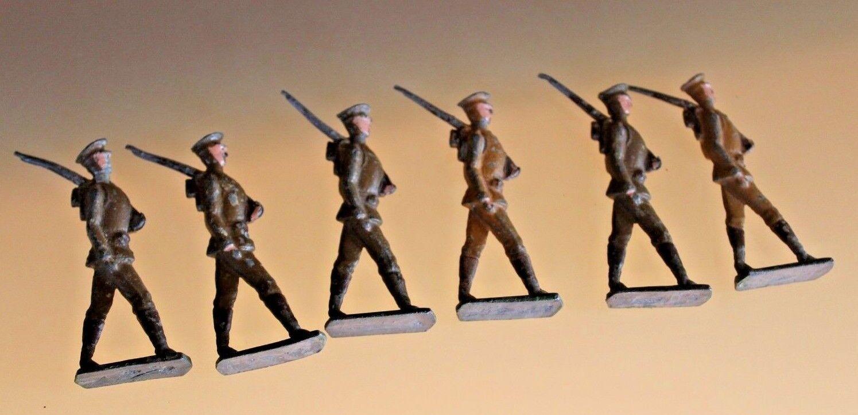Soldato Piombo Antico Lotto 6 Soldati Mezza rossoondo da Gobba