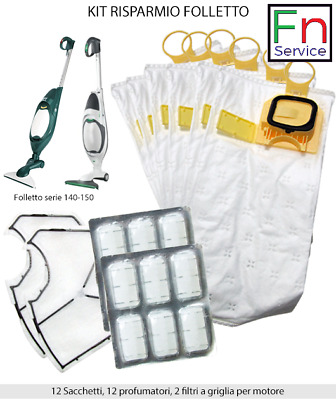 12 profumi 1 filtro TOP Vorwerk Folletto compatibile vk 140//150 12 sacchetti