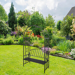 Outdoor Metal Arch With Seat Bench For Climbing Plant Garden Lawn Backyard Black Ebay