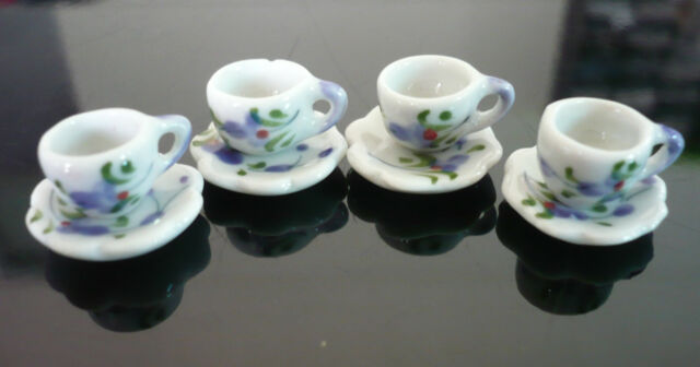 4 Set  Purple Orchid  Paint Coffee Cup and Scallope Plate Dollhouse Miniatures