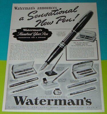 Vintage Print Ad 1939 Waterman/'s Fountain Pen Sets A Sensational New Pen
