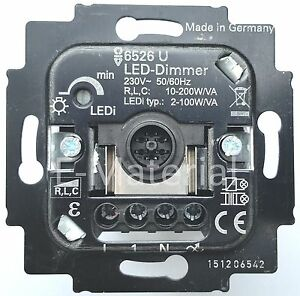 led dimmer busch jaeger 6526u tastdimmer 2 100w va ebay. Black Bedroom Furniture Sets. Home Design Ideas