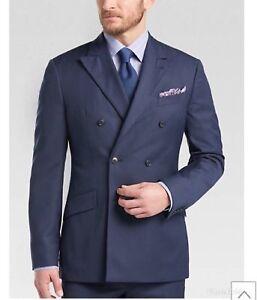 Navy Blue Double Breasted Men Groom Tuxedos Wedding Men Suit Custom Made