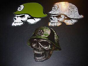 "METAL MULISHA Green Skull Helmet Skate Sticker 6/"" motocross skateboard decal"