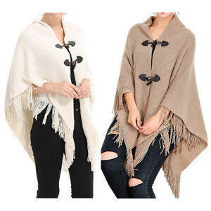 8e2e63567 Women Cloak Hood Sweaters Knit Batwing Top Poncho With Cape Coat ...