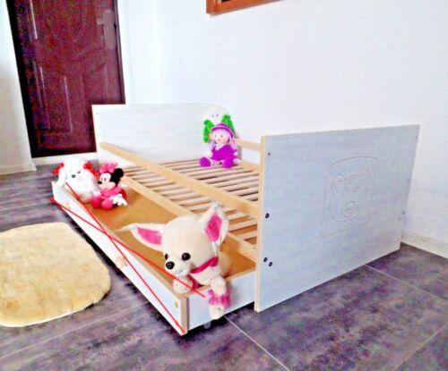 Kinderbett Jugendbett Juniorbet 70 x140 cm weiß rosa GRAVUR!
