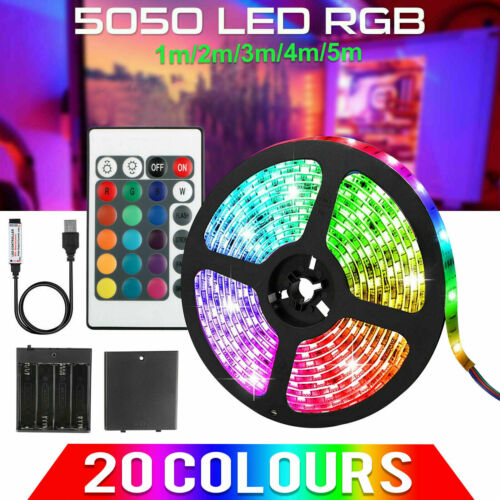 RGB 5050 Waterproof LED Streifen Strip Light USB+Battery Powered Remote Control