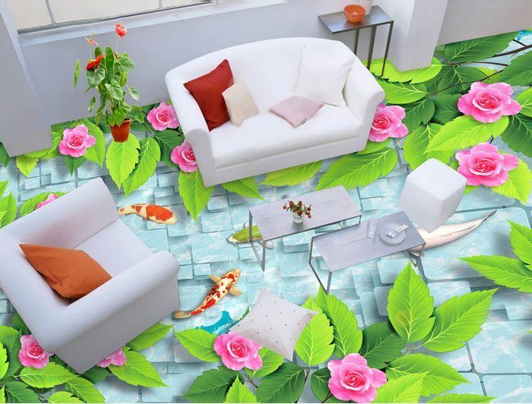 Agua de flores de peces 3D 471 Papel Pintado Mural Parojo Calcomanía de impresión de piso 5D AJ Wallpaper