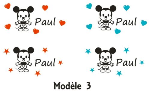 3 different models * 1 sticker mickey-name your choice