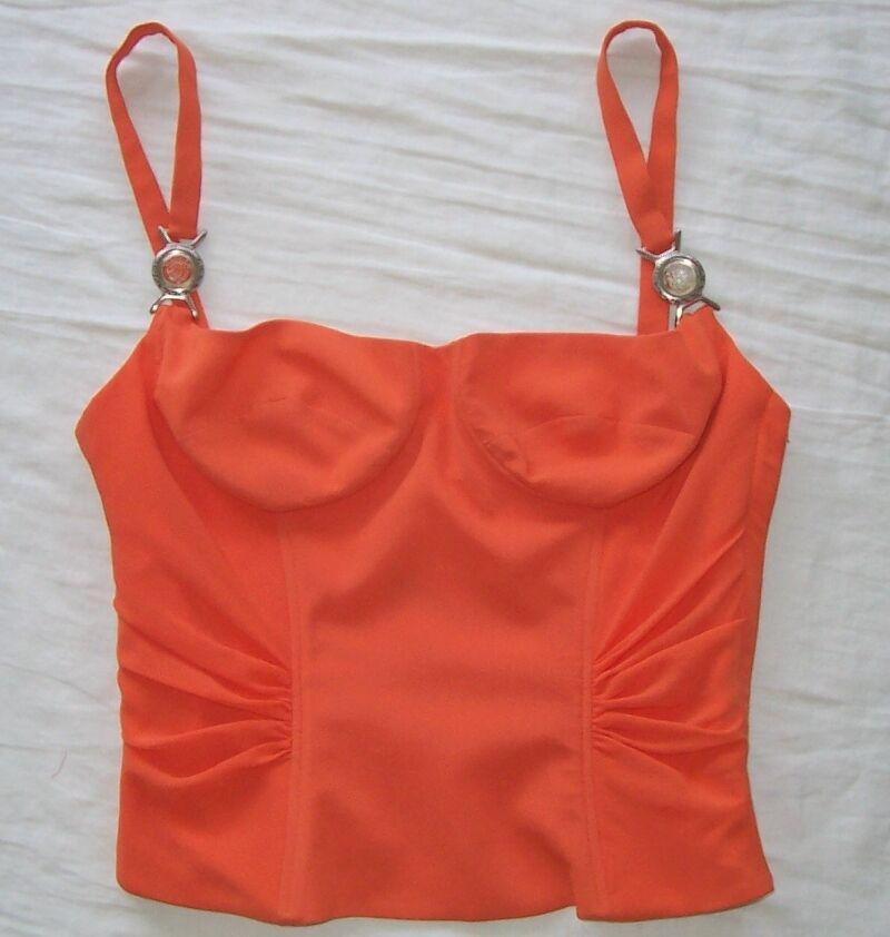 VERSACE Vintage Orange Silk Medusa Logo Bustier Bra oben 40 2  4
