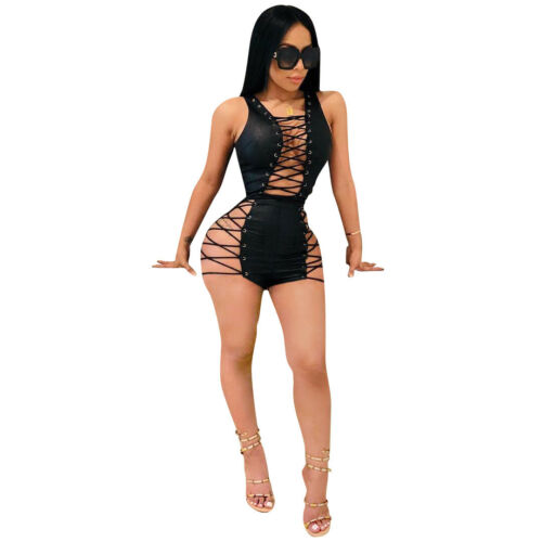 Women sleeveless bandage lace up bodycon club party short jumpsuit