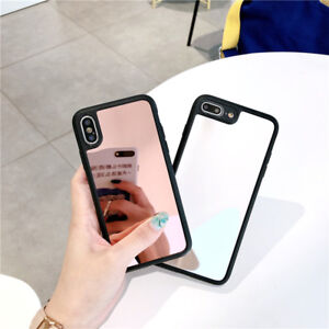 Simple Girls Women Makeup Mirror Glass Tpu Case Cover for IPhone X 8 ... 6a76a33380