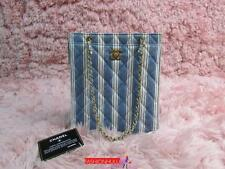 Auth VINTAGE CHANEL Mini Blue Denim Striped Tote Bag Gold HW