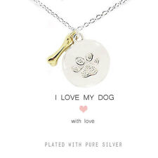I Love My Dog silver plated disc paw print, gold bone charms necklace, gift pets