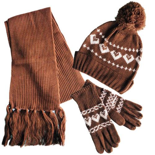 Bambini Ragazzi Ragazze Cappello sciarpa e guanti per bambini set invernale spessa Caldo Età 3-8 UK