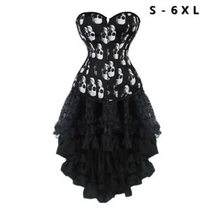 Details about Women Skull Printed Overbust Corset Dress With Black High Low  Skirt Plus Size 6X