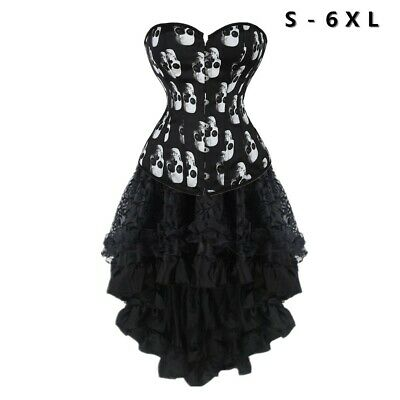 women skull printed overbust corset dress with black high