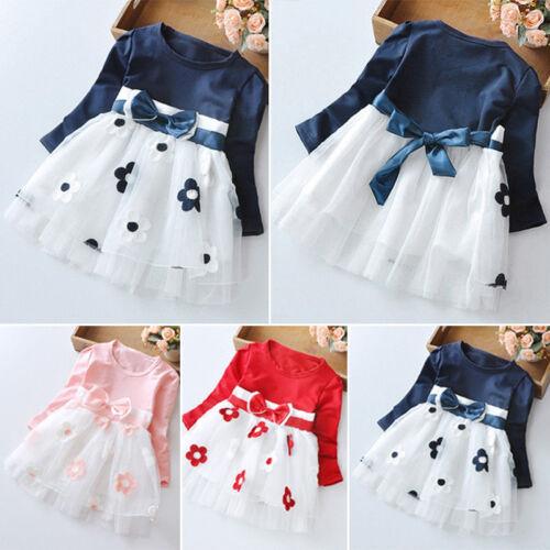 Baby Girls Long Sleeve Kids Tulle Tutu Party Wedding Dress Princess Clothes