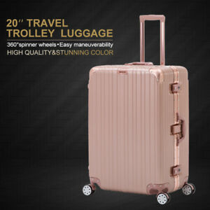 8302cdd951e2 20   Rose Gold Carry On Luggage Travel Bag Trolley Spinner Suitcase ...