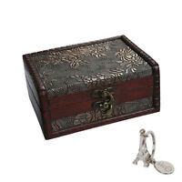 Wooden Jewelry Box Storage Vintage Small Treasure Chest Wood Crate Case Gift