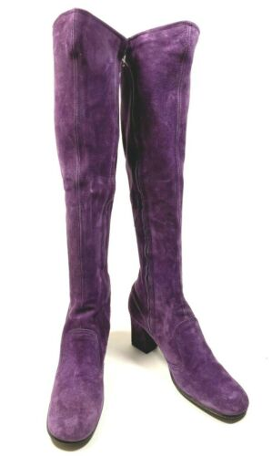 RARE Vtg 60s 70s Purple Suede Knee High GoGo Boots