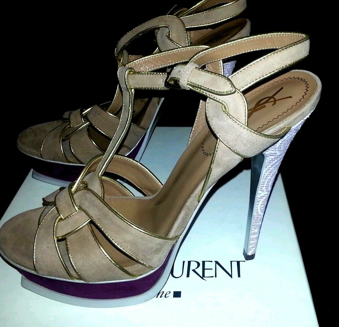 YSL TRIBUTE PLATFORM SANDALS NIB,sz 40, LIMITED EDITION SANDALS HIGH HEEL,US 9