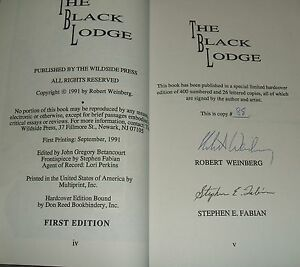 1991-Signed-limited-Edition-of-The-Black-Lodge-by-Weinberg-Wildside-Press