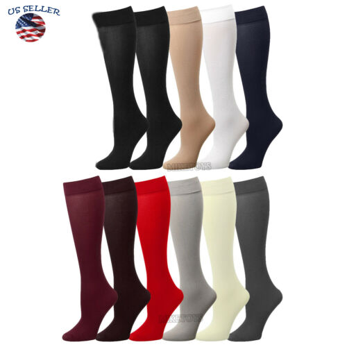 3 Pairs Womens Trouser Socks Stretchy With Spandex Opaque Lot Knee High Comfort