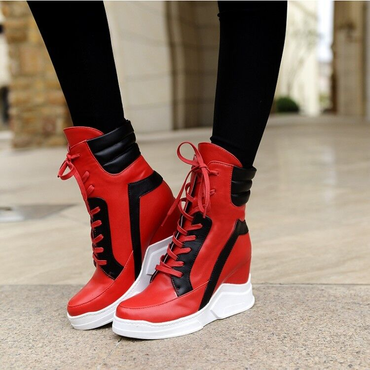 Fashion Women's High Top Ankle Boots Casual Lace Up Sneakers Wedge Heel shoes