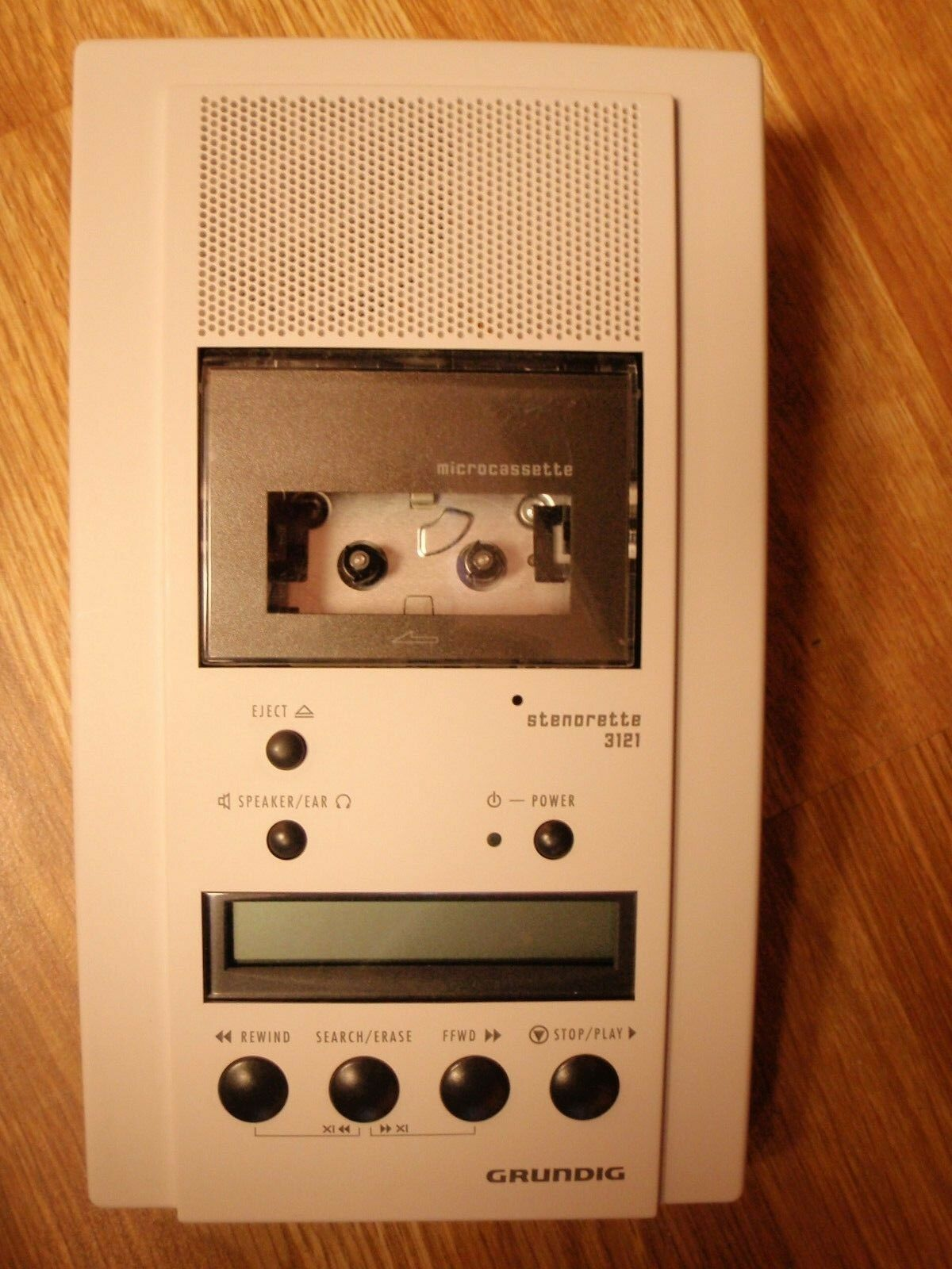 Grundig 3121 microcassette transcriber with AC, foot pedal, headset and warranty