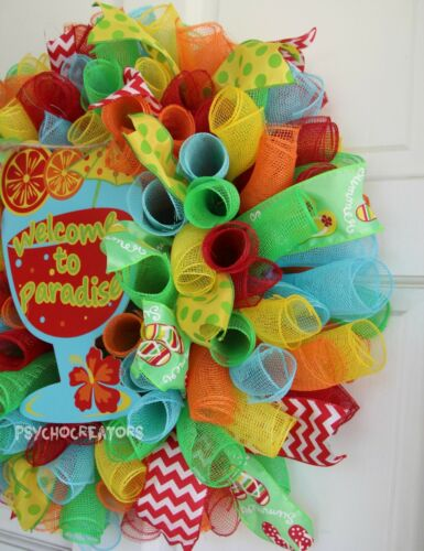 Margaritaville Summer Beach Party Multicolor WELCOME TO PARADISE MESH WREATH