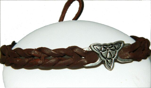 Leather Braided Bracelet Irish Celtic Spiral Trinity Knot Weave Wristband 8054