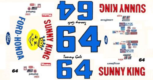 #64 TOMMY GALE SUNNY KING FORD 1//64th HO Scale Slot Car WATERSLIDE DECALS