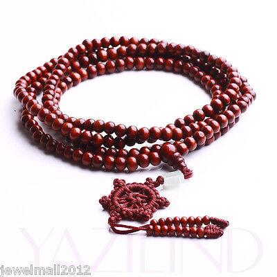 6mm Red Sandalwood Prayer Mala Rosary Bead Stretch Necklace Bracelet