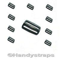 10 x 40m Black Plastic 3 Bar Slides Buckles for Webbing