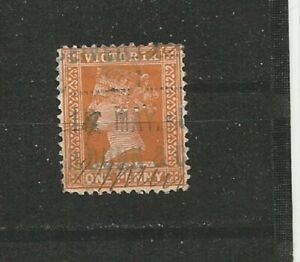 Queen-Victoria-One-Penny-perfins-GREAT-BRITAIN-timbres-SELLOS-timbres