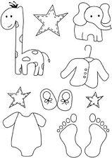 Baby Feet craft clear rubber stamps card making children Giraffe Elephant