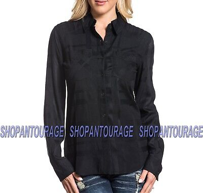 Affliction Heart Breaker 111WV162 New Long Sleeve Black Button-Down Woven Shirt
