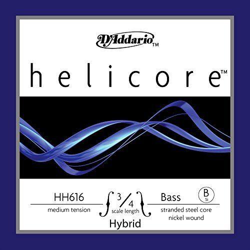 D'Addario Helicore Hybrid Bass Single Niedrig B String, 3/4 Scale, Medium Tension