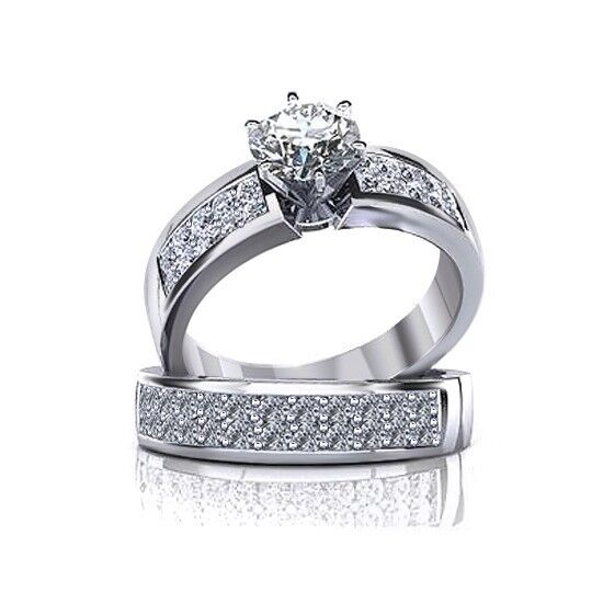 7.0MM Round Cut Cubic Zirconia Solid 14K White gold Engagement Wedding Ring Sets