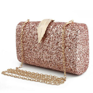 Women-Evening-Bags-Sparkling-Envelope-Clutch-Handbag-Purse-Glitter-Sequins-Leaf