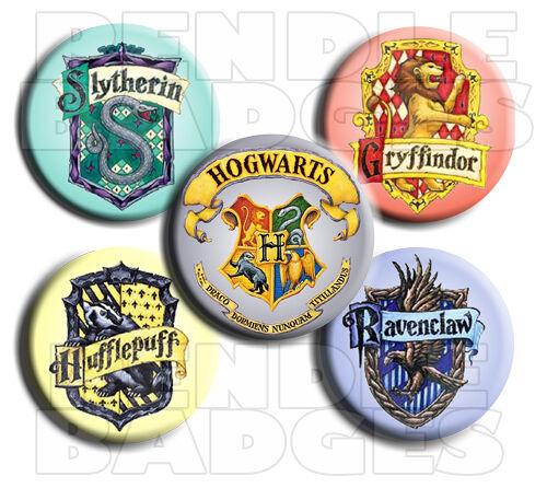 "Harry Potter 5 Badge Set  Hogwarts Logo plus 4 House Badges 1¾/"" 45mm"