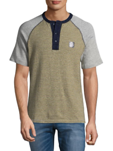 PRPS Goods & Co. Men's Olive Striped Joy Cotton Henley Shirt
