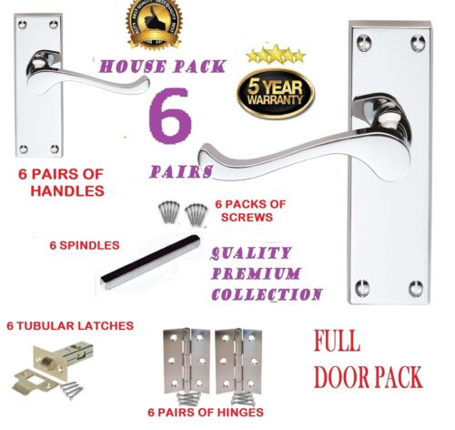D14 Porte complète pack x 6 modern chrome victorien défiler levier poignée de porte