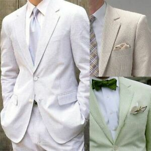 Men S Summer Breathable Seersucker Suits Two Pieces Leisure