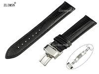 ZLIMSN 18 20 22 24mm New Men's Black 100% Genuine Leather Watch Band Strap Clasp
