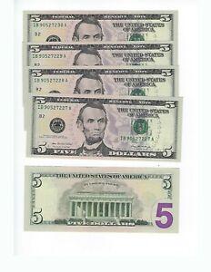 UNITEDSTATES-FEDERAL-RESERVE-NOTES-5-DOLLARS-2006-034-I-034-DISTRICT-5-CONSECUTIVE-UNC