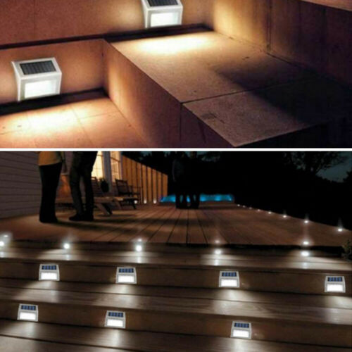 LED Solar Powered Stainless Steel Fence /& Path Lights Home Security Outdoor Lamp