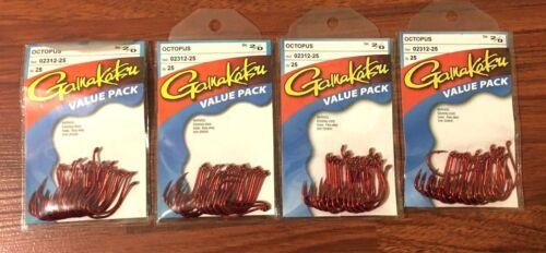 250 Gamakatsu  Octopus  Hook  2//0 RED 10 value package 02312-25
